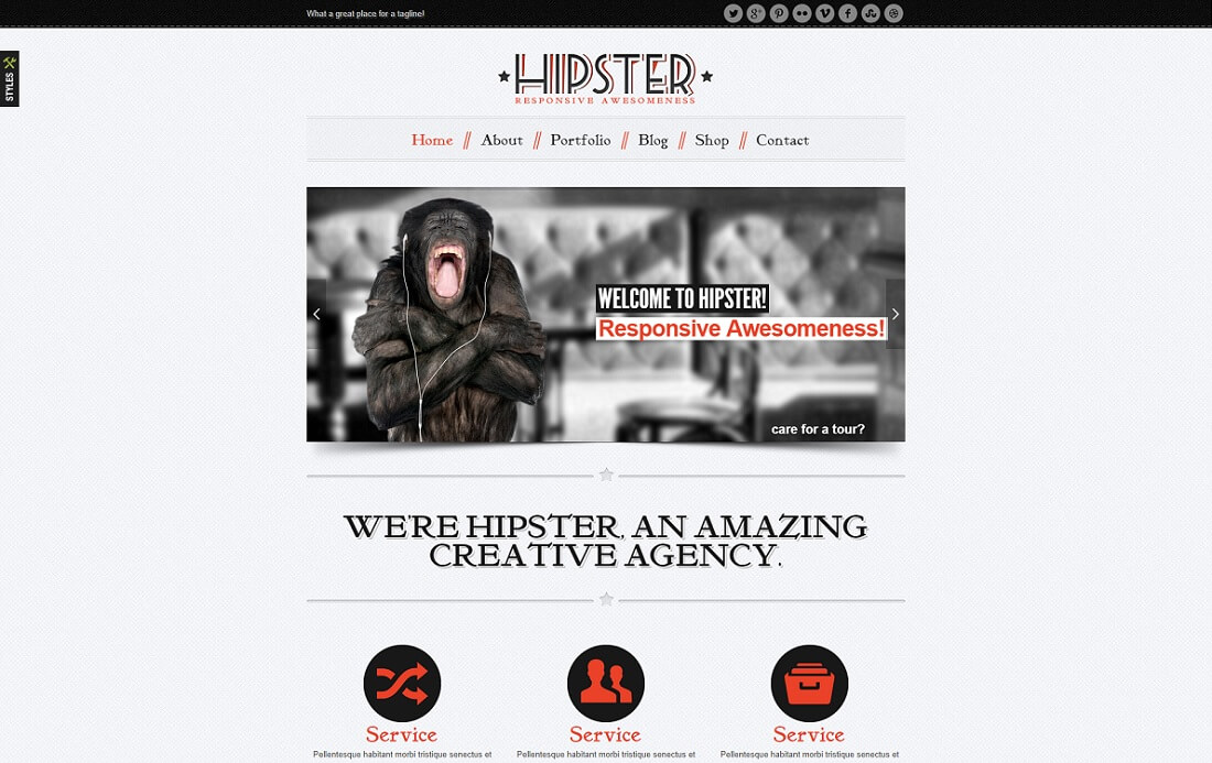 hipster wordpress instagram theme