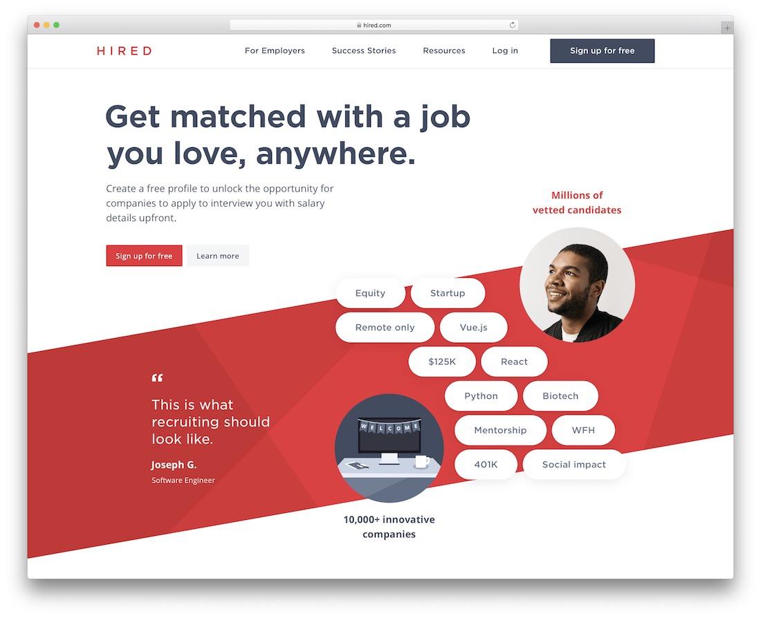 hired tech startup job board