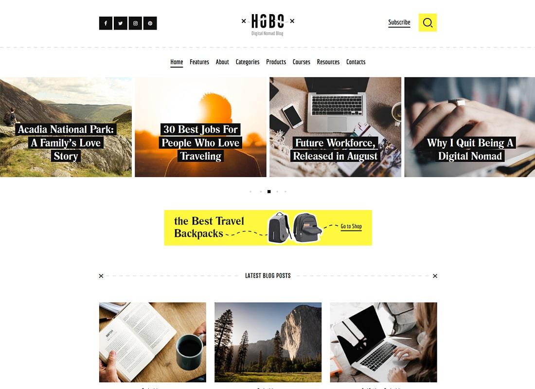 Hobo | Digital Nomad Travel Lifestyle Blog WordPress Theme