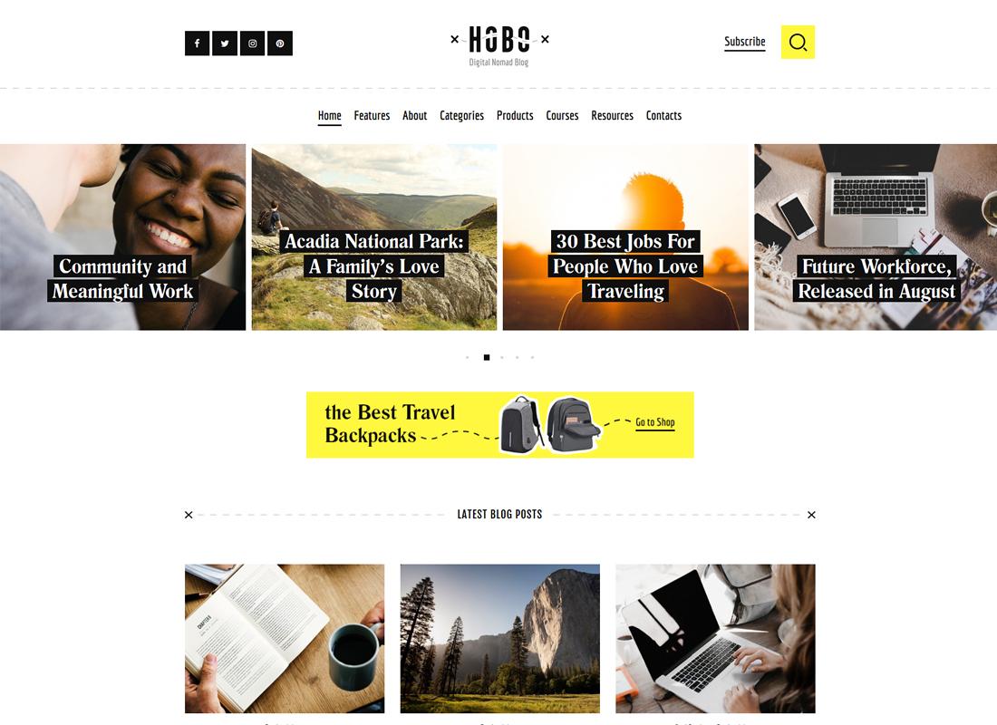 Hobo - Digital Nomad Lifestyle Blog WordPress Theme