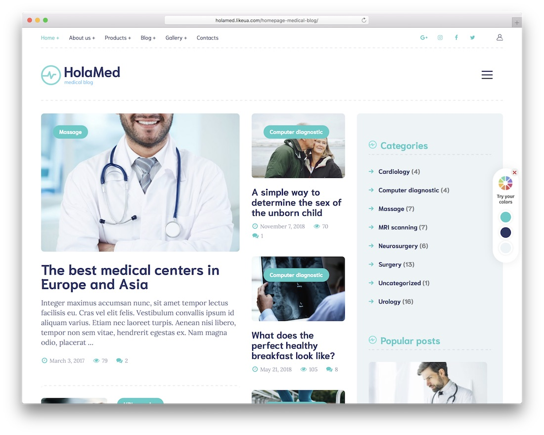 holamed health medical wordpress theme