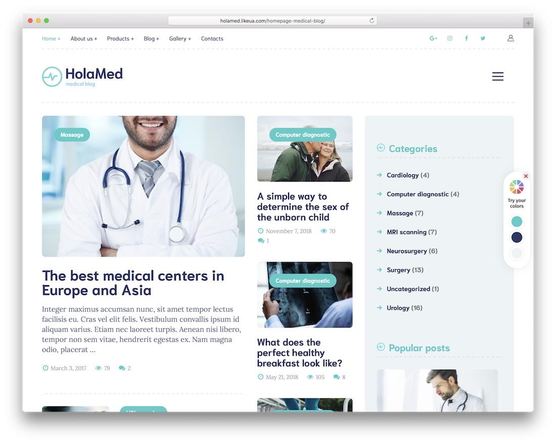 holamed health medical wordpress theme