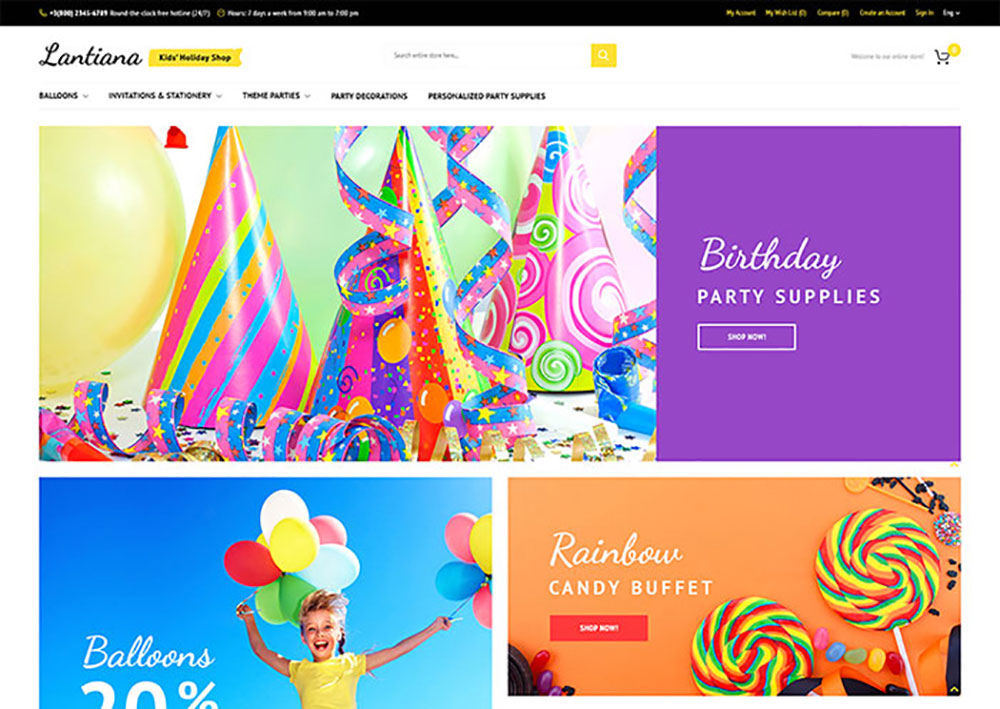 Lantiana - Party Supplies Magento Theme