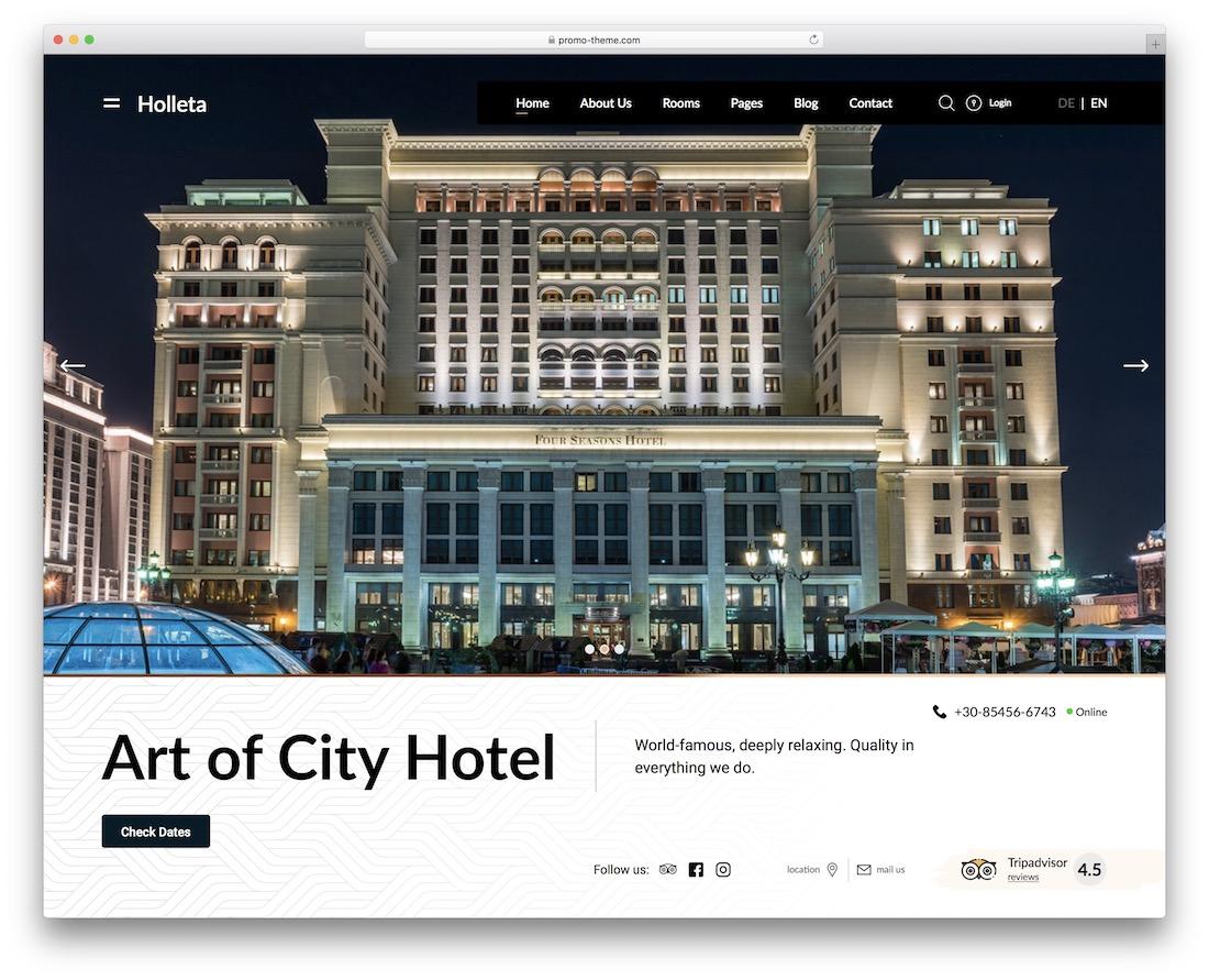 holleta hotel wordpress theme