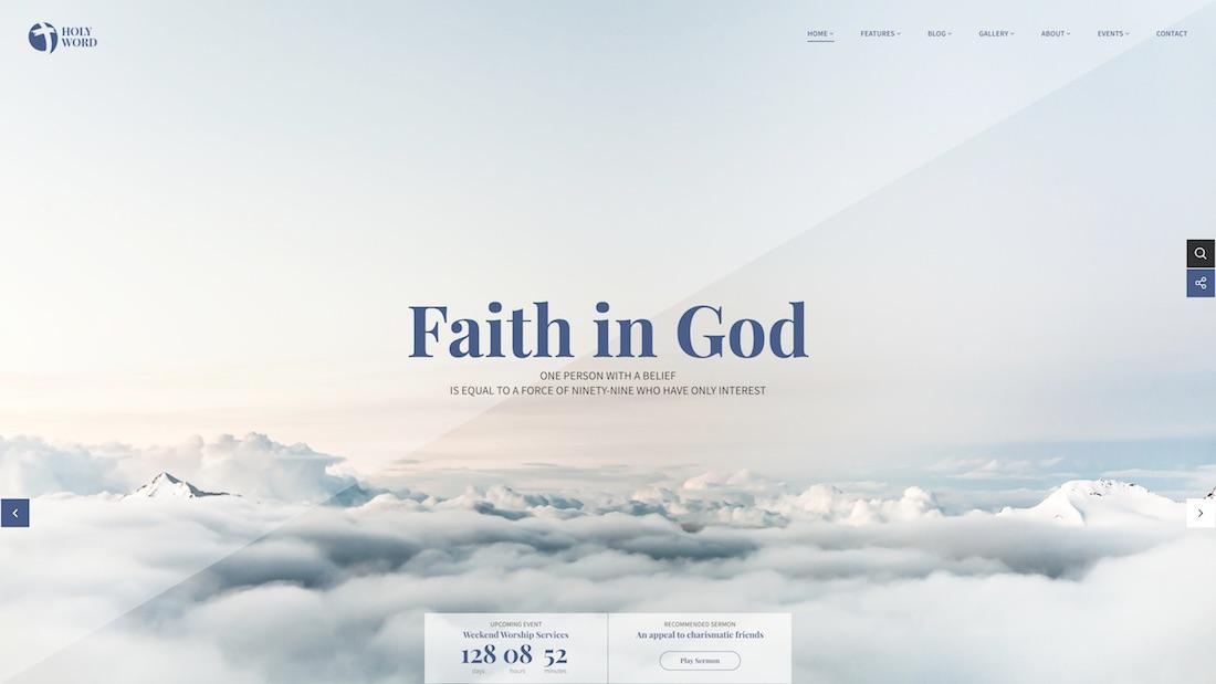 holy world website template