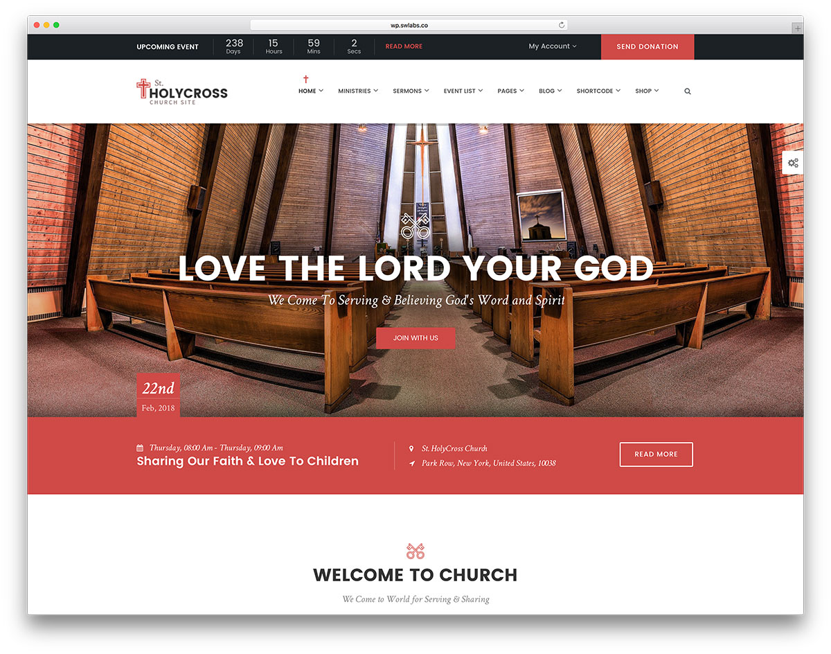 holycross religious theme with WooCommerce support