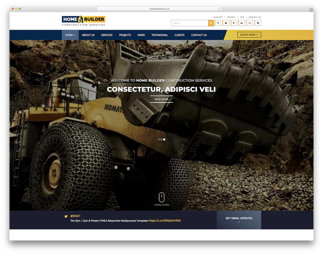 home builder html construction company template
