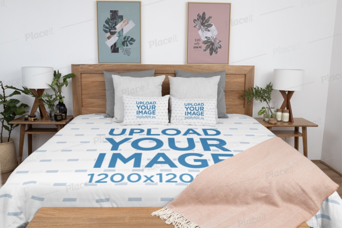 home decor mockup featuring a duvet cover and two pillows