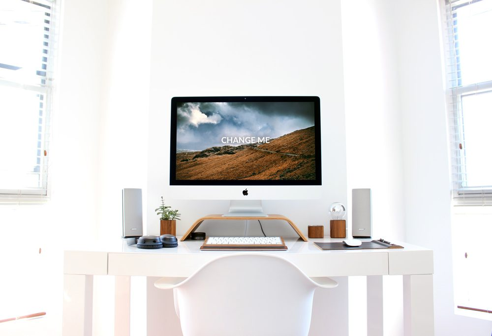 home desk with imac mockup