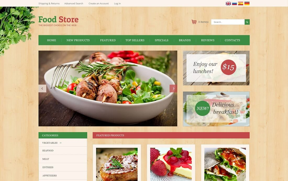 home restaurant oscommerce template