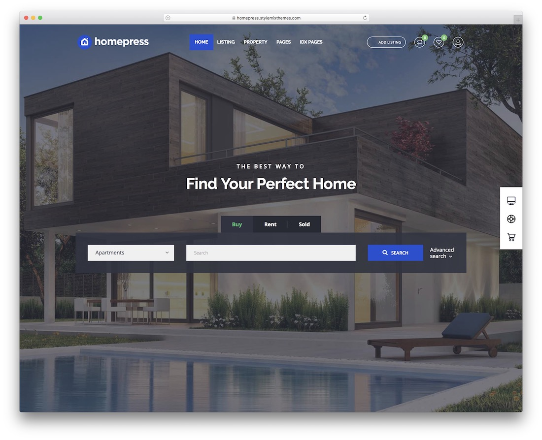 homepress real estate website template