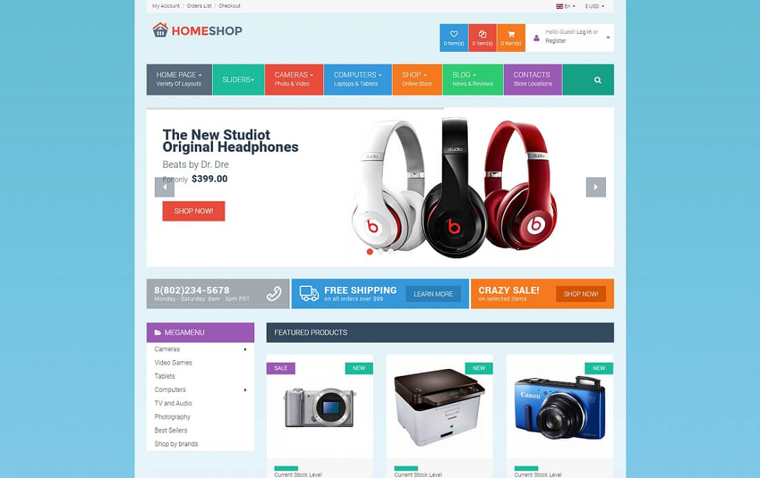 homeshop virtuemart template