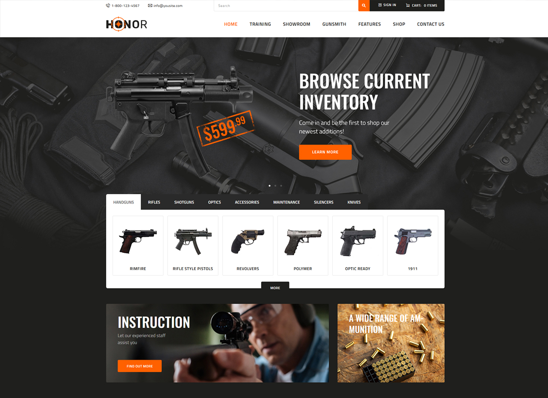 Honor - Shooting Club & Weapon Store WordPress Theme