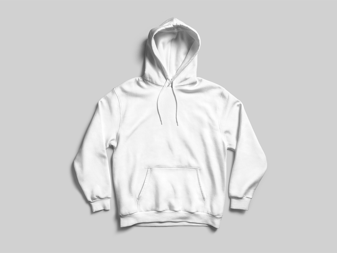 e5bf7f0f512e Whether you are attending a conference or your run a clothing brand, get  your name out there with a kangaroo pocketed hooded pullover. This white  front and ...