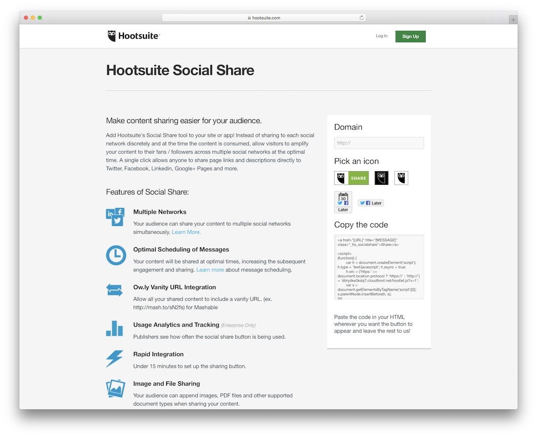 hootsuite social sharing buttons