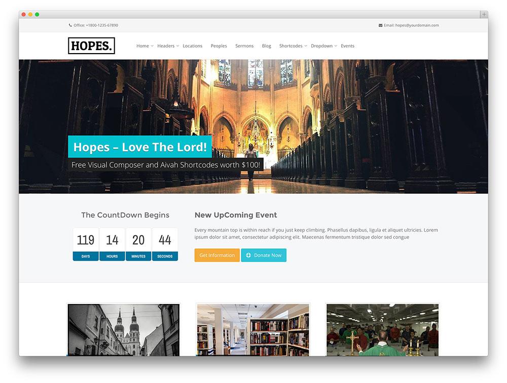 hopes - clean and minimal church theme
