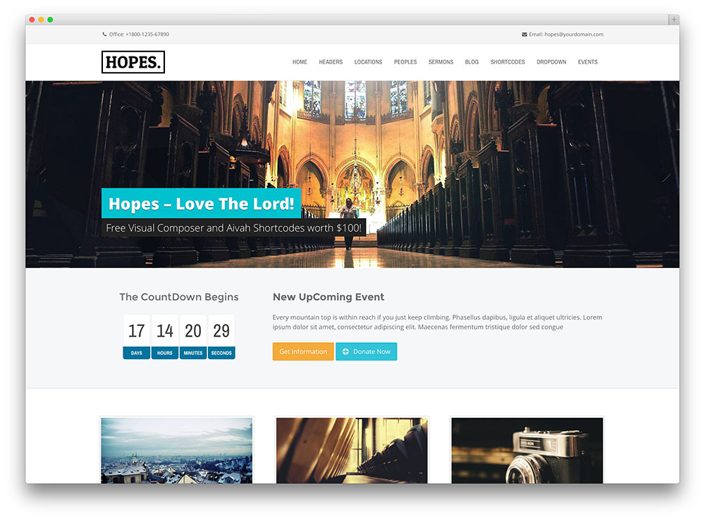 hopes worthy modern wordpress church theme