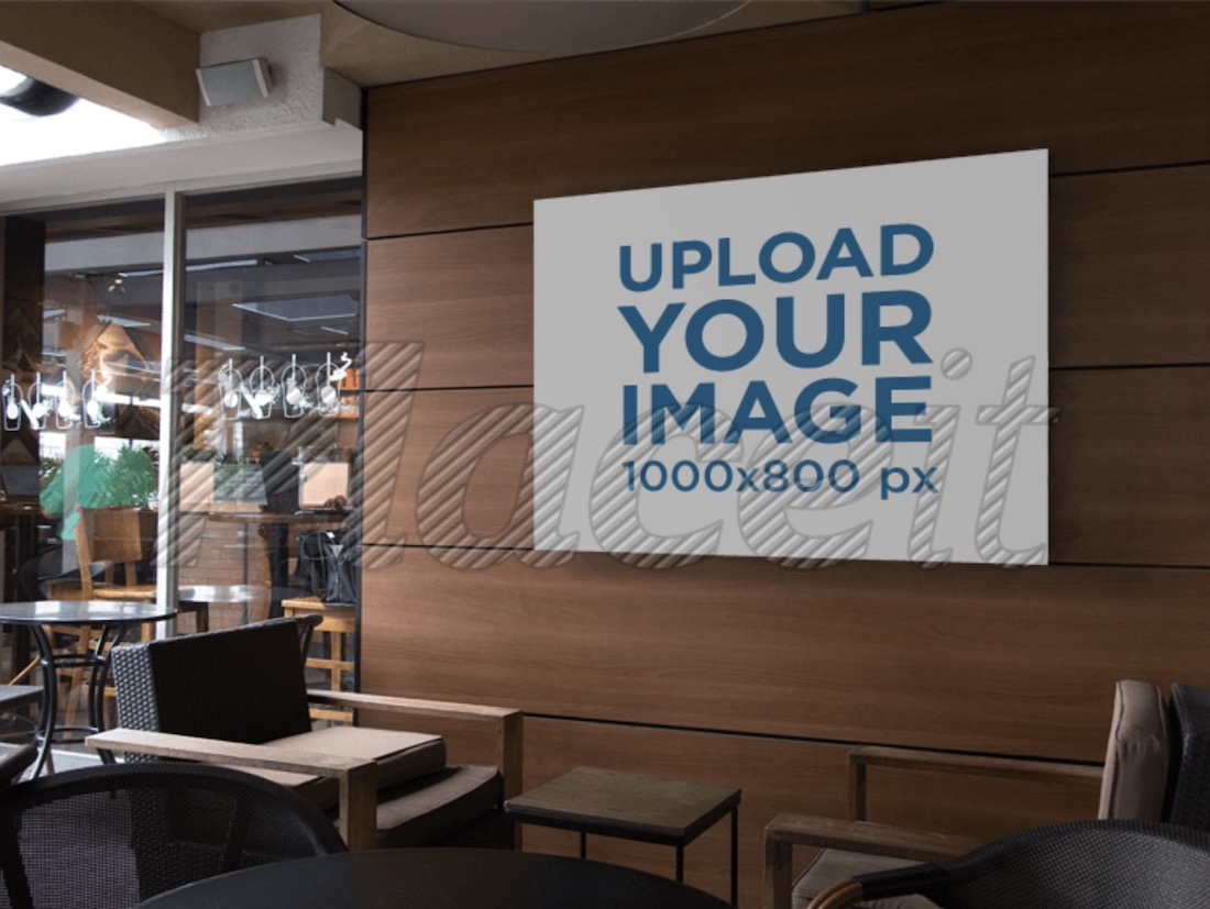 horizontal banner mockup on a coffee shop wall