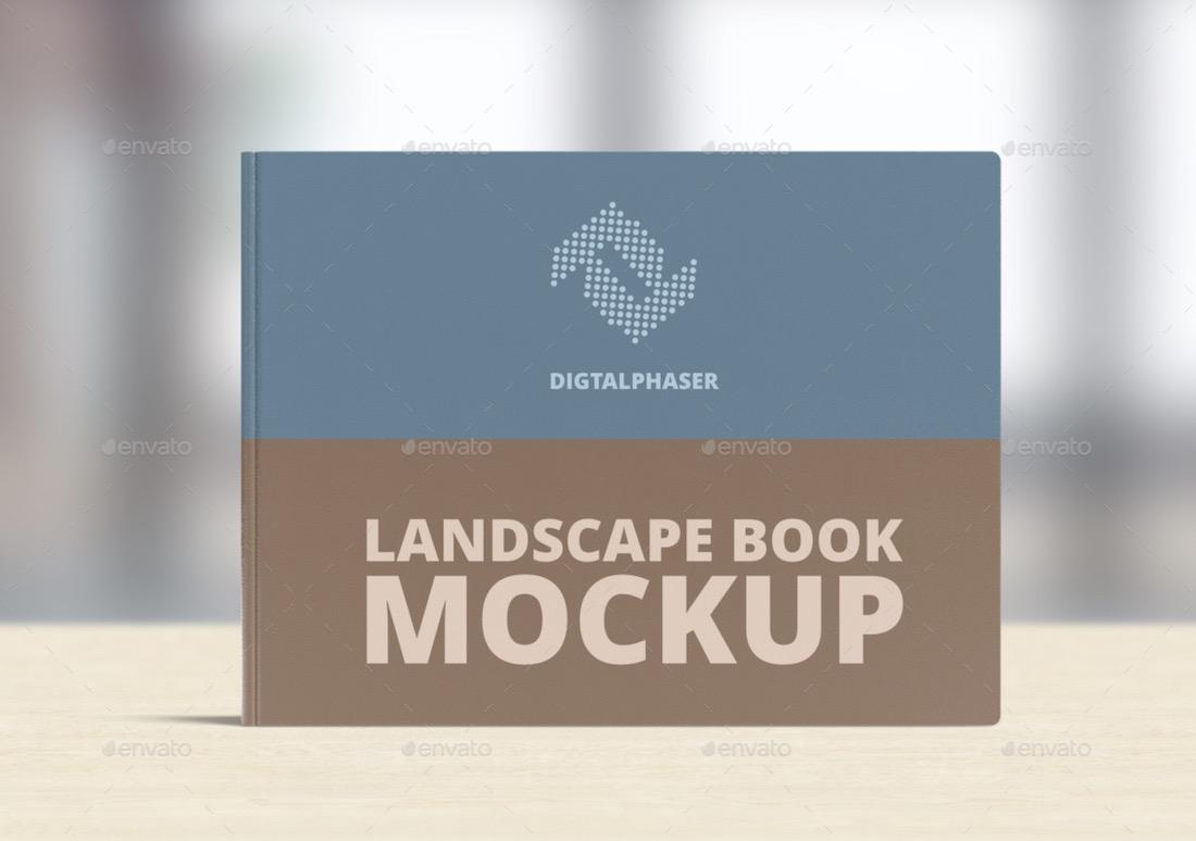 horizontal hard cover book mockup