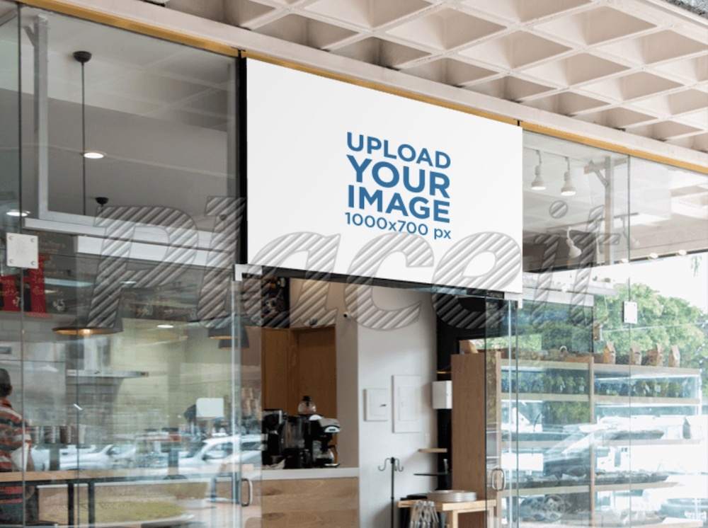 horizontal sign mockup over a bakery shop