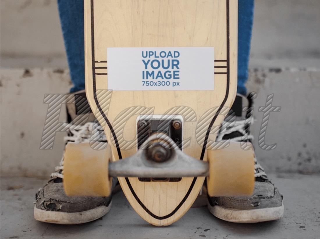horizontal sticker on a longboard mockup