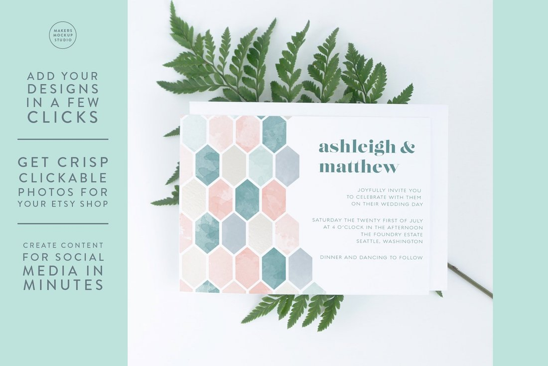 horizontal wedding invitation mockup