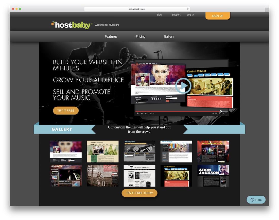 hostbaby musician website builder