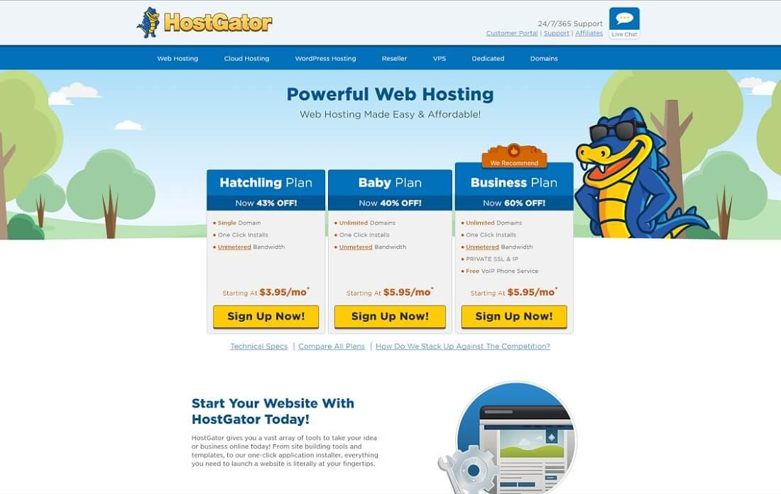 hostgator web hosting personal website