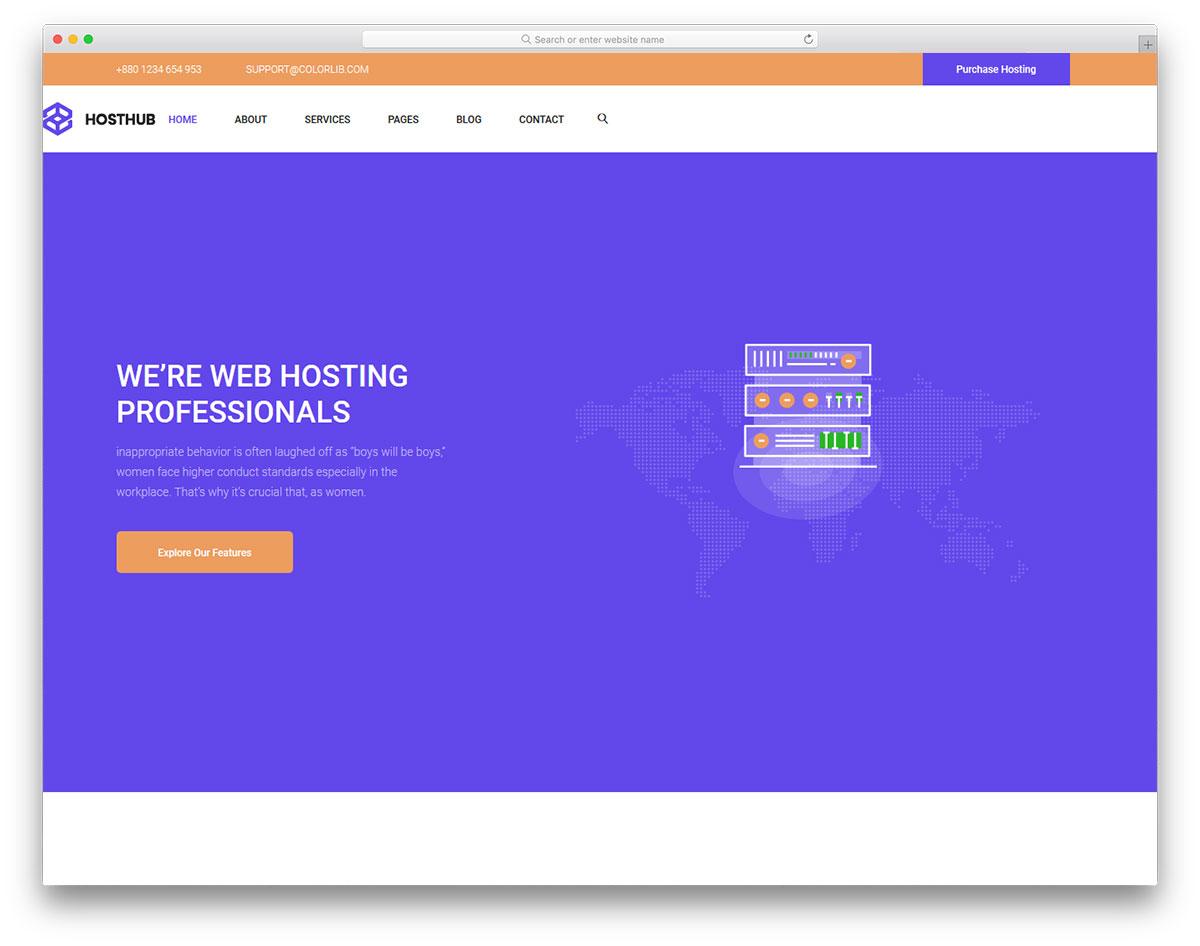 Скачать бесплатно html шаблон Hosthub