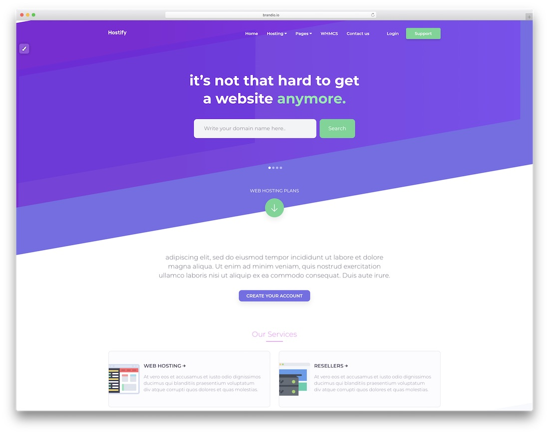 hostify simple bootstrap template