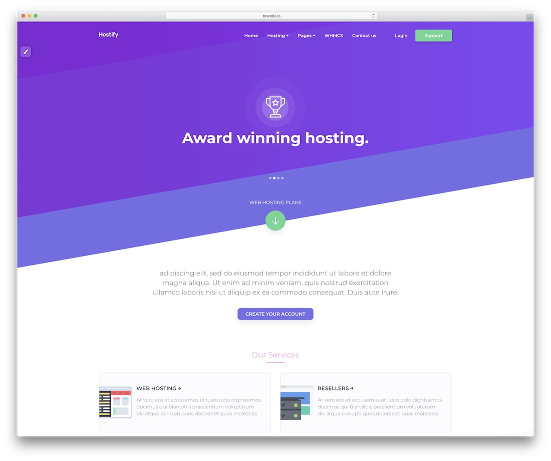 hostify simple website template