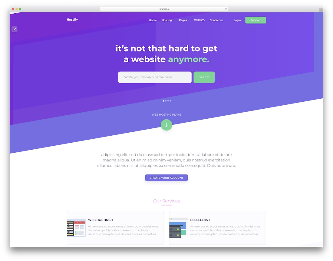 hostify technology website template