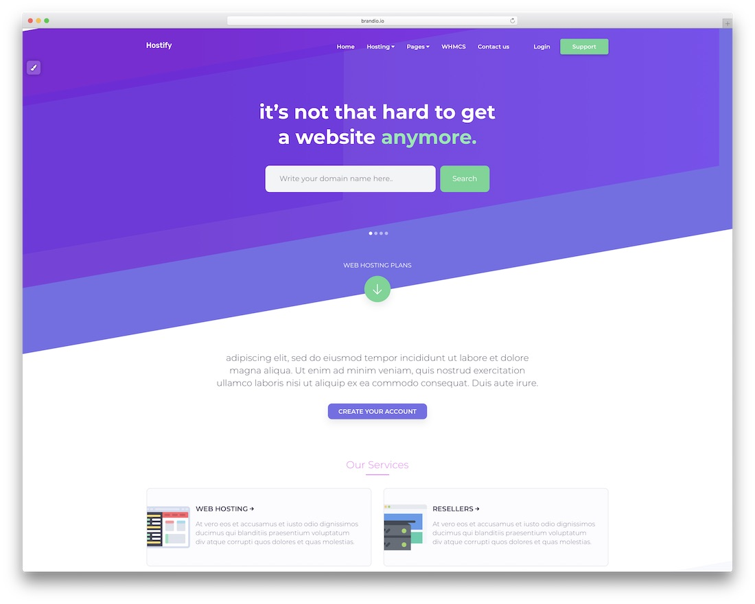 hostify web hosting website template