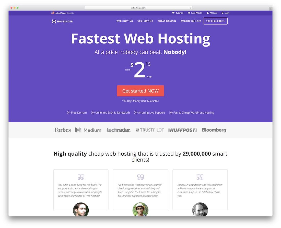 hostinger cheap web hosting for personal website