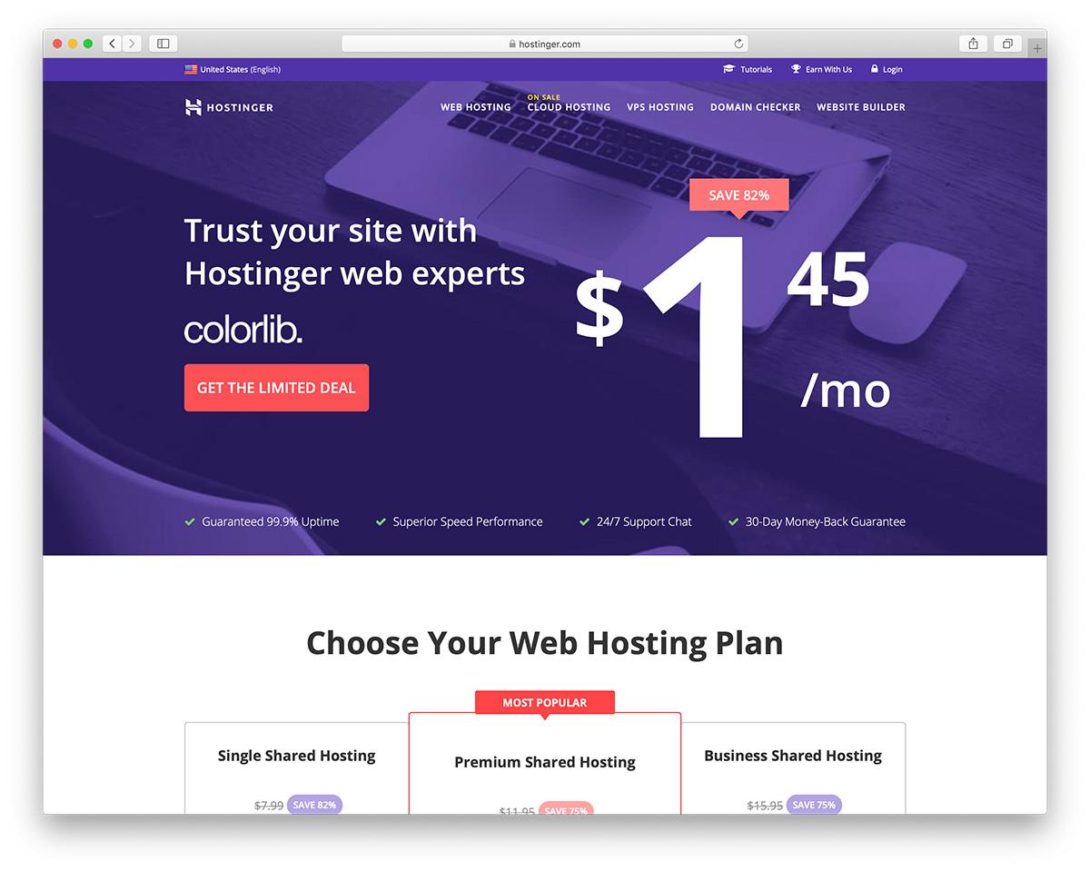 The cheapest WordPress hosting provided by Hostinger