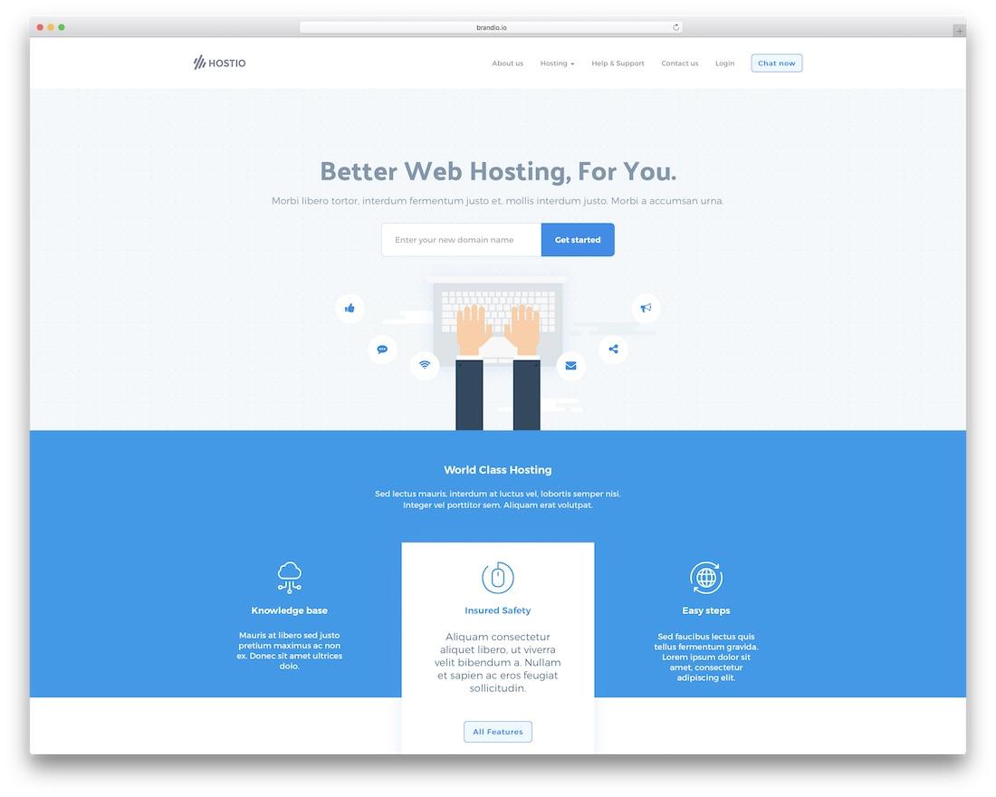 hostio HTML web hosting website template