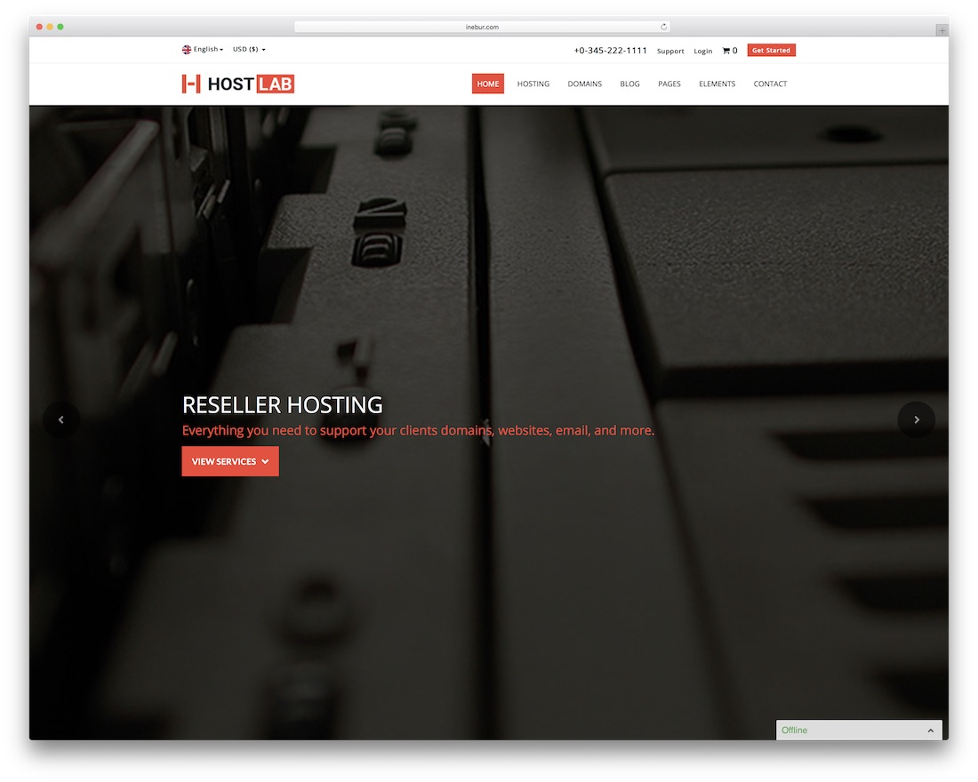 hostlab HTML web hosting website template