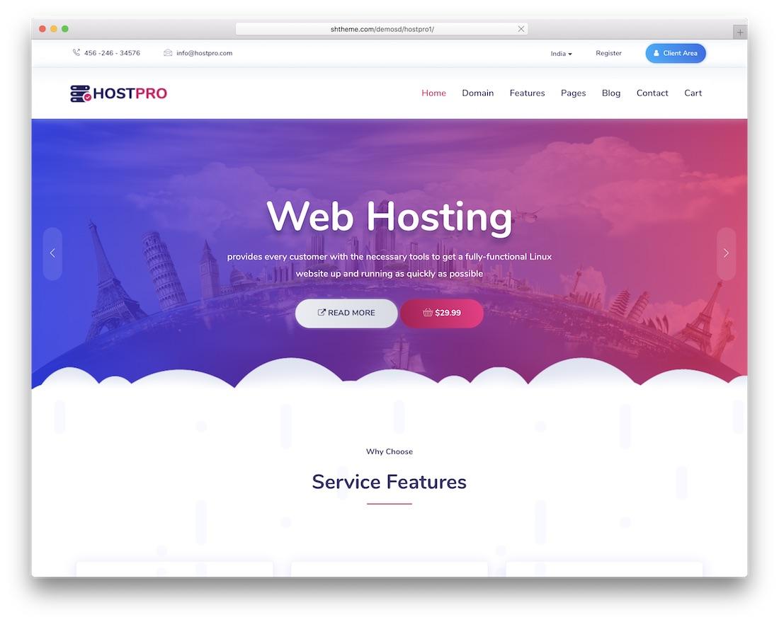 hostpro hosting wordpress theme