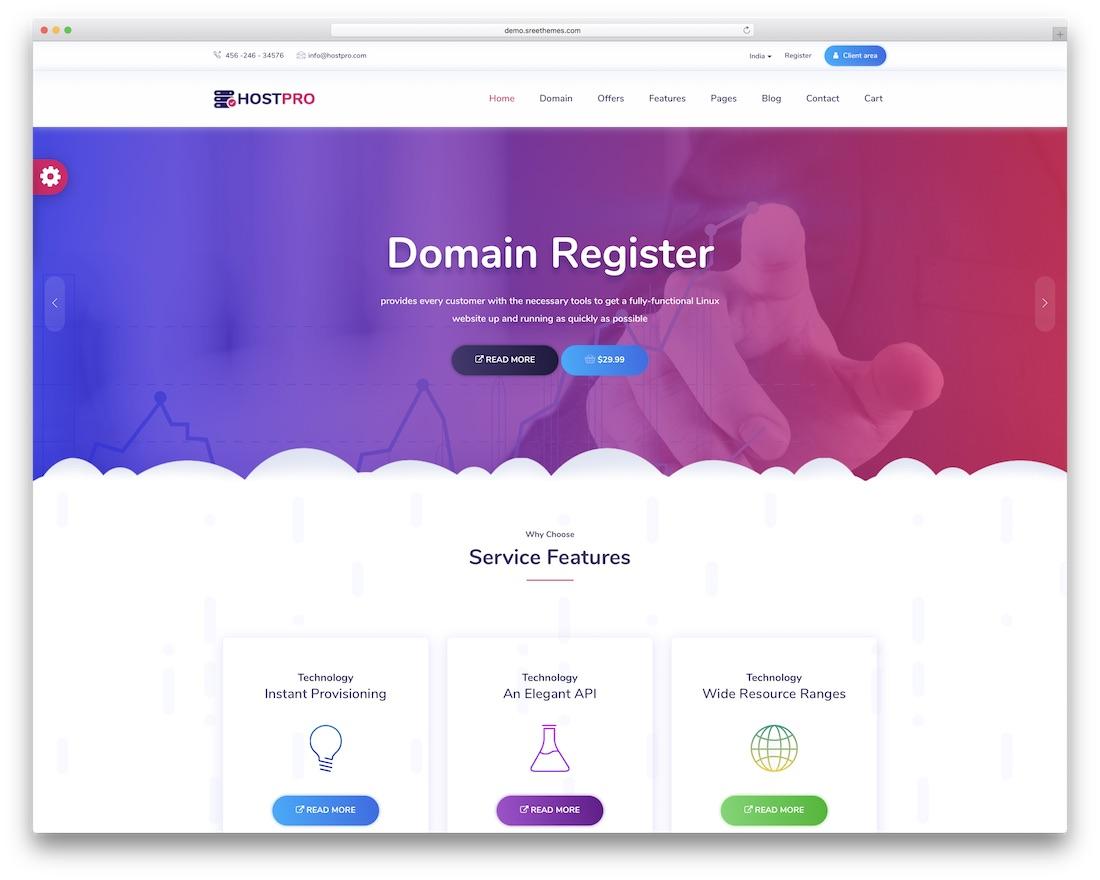 hostpro web hosting website template