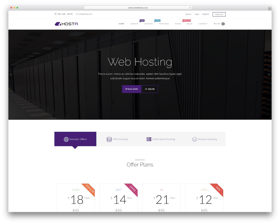 hostr web hosting website template