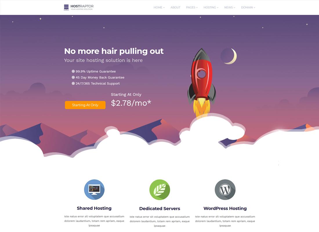 HostRaptor | Hosting & Domain WordPress Theme