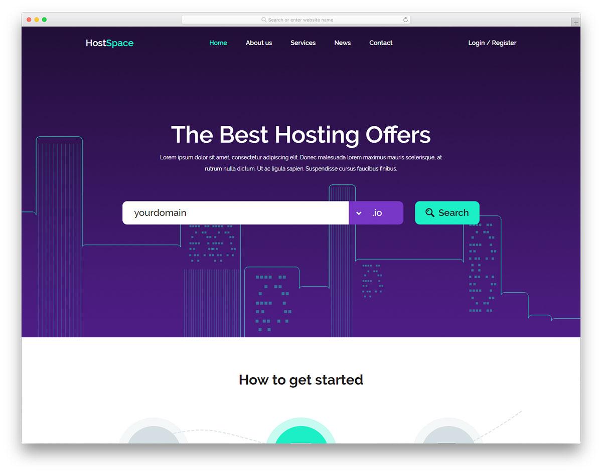 Скачать бесплатно html шаблон Hostspace