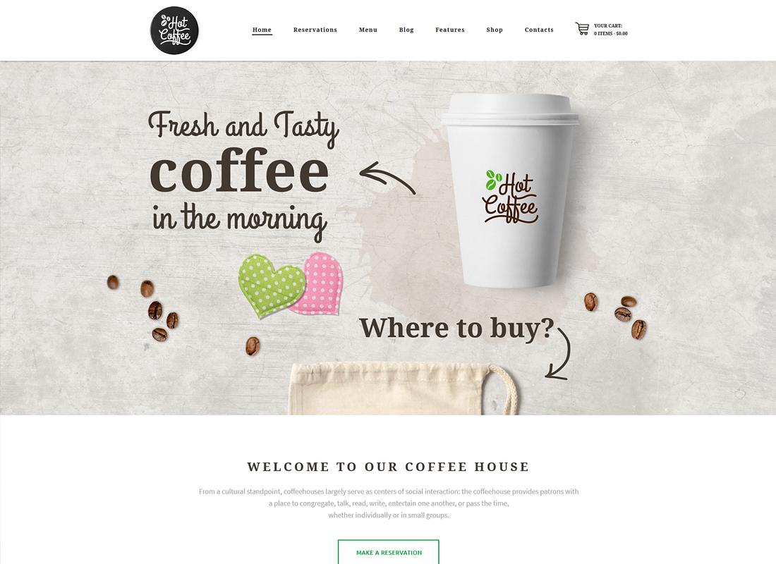 Hot Coffee - Cafe / Restaurant / Bar WordPress Theme