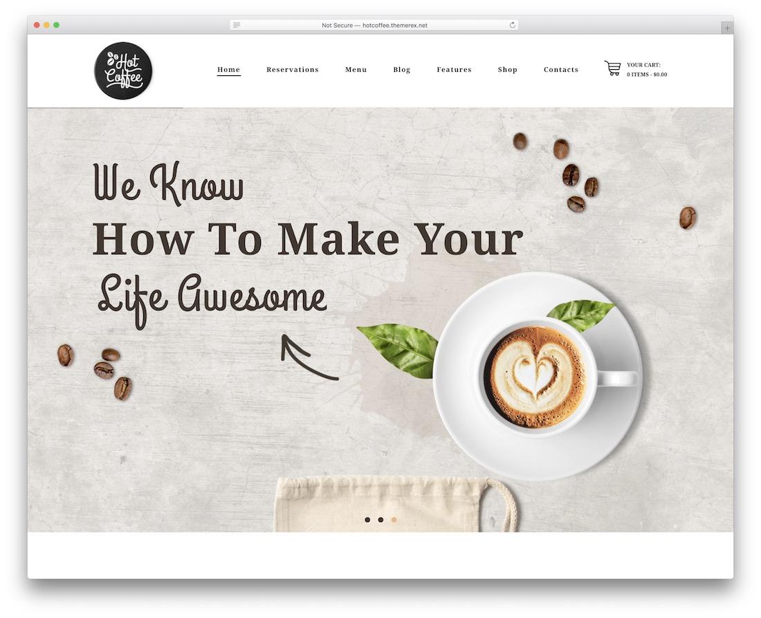 hot coffee house cake shops wordpress theme