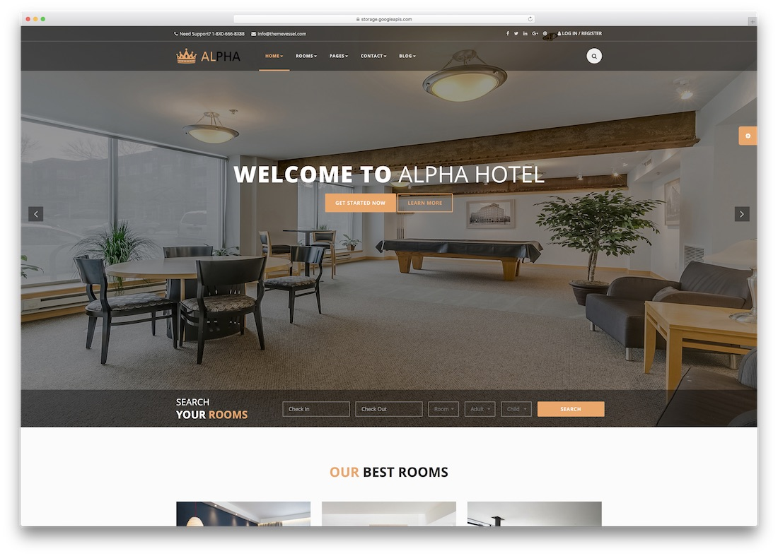 hotel alpha html5 website template