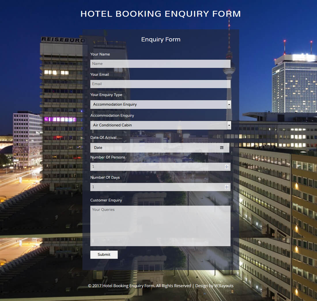 hotel-booking-enquiry-form