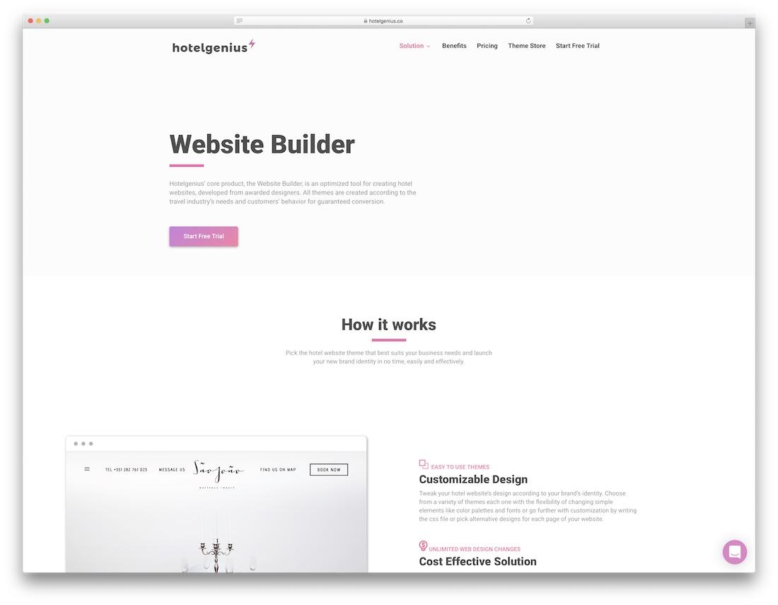 hotel genius hotel website builder