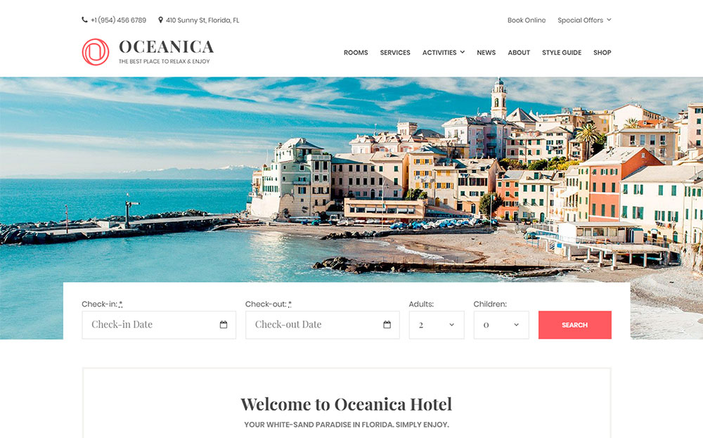 Oceanica - Hotel Booking WordPress Theme