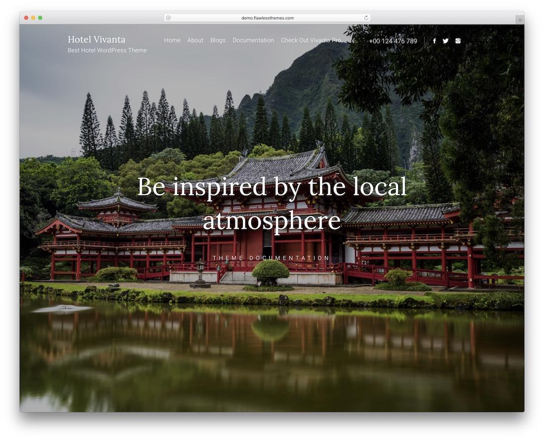 hotel vivanta free parallax scrolling wordpress theme
