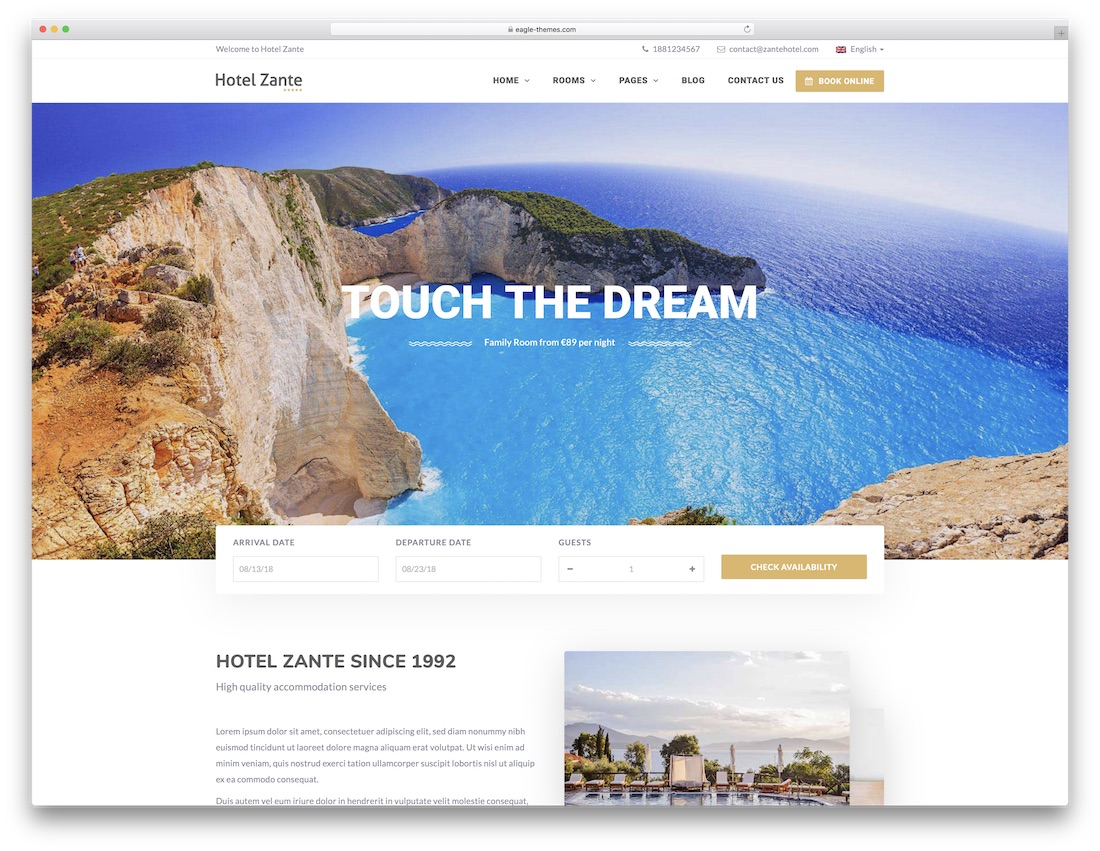 hotel Zante - theme d'hotel wordpress